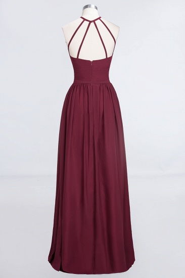 Affordable Halter Sleeveless Long Burgundy Bridesmaid Dress with Ruffle_54