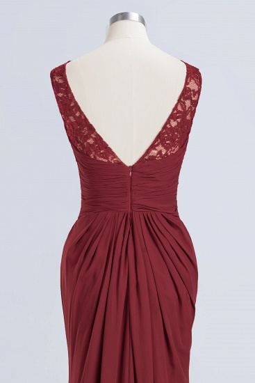 BMbridal Mermaid Scoop Sleeveless Lace Burgundy Bridesmaid Dresses with Pleats_13