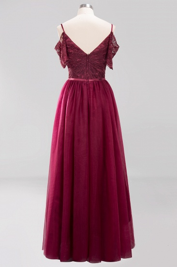 Affordable Chiffon Off-the-Shoulder Burgundy Lace Bridesmaid Dresses_5