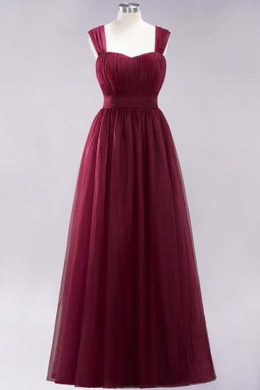Gorgeous Sweetheart Straps Ruffle Burgundy Bridesmaid Dresses Online_37