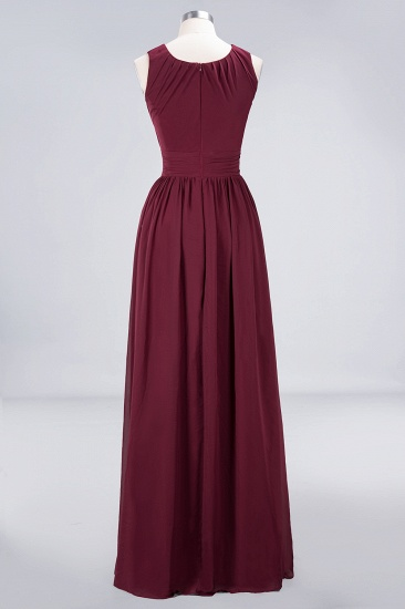 BMbridal Modest Round-Neck Sleeveless Burgundy Bridesmaid Dresses with Ruffles_10