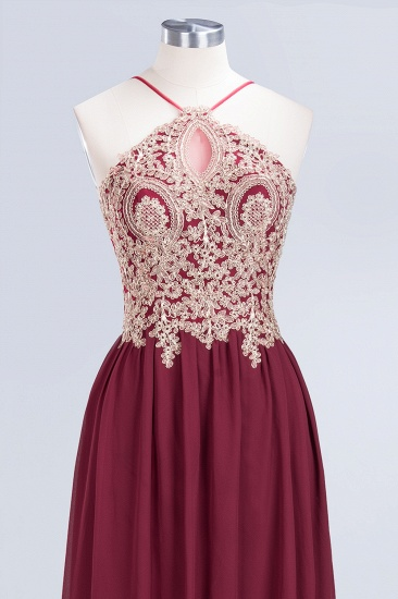 Chic Spaghetti Straps Long Burgundy Backless Bridesmaid Dress with Appliques_7