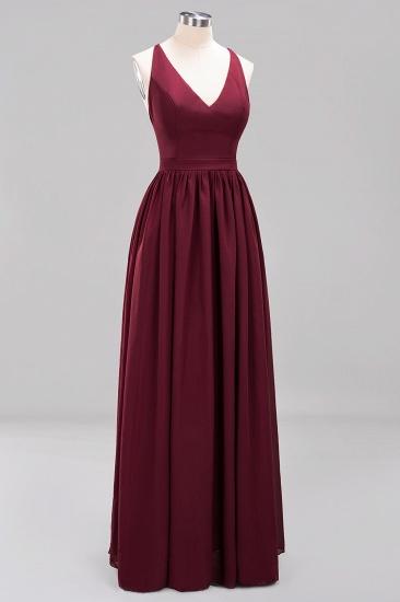 Affordable Chiffon V-Neck Sleeveless Lace Bridesmaid Dress Online_67
