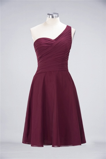 Chic One-Shoulder Short Burgundy Affordable Bridesmaid Dress with Ruffle_59