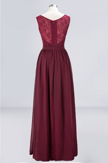 Affordable Burgundy V-Neck Ruffle Bridesmaid Dresses with Lace-Back_10