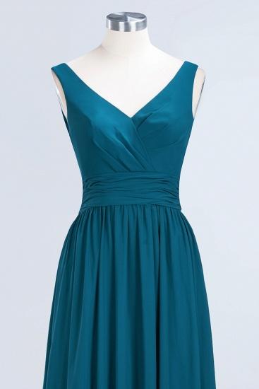 Modest Sleeveless V-Neck Long Chiffon Bridesmaid Dress Online with Ruffle_60