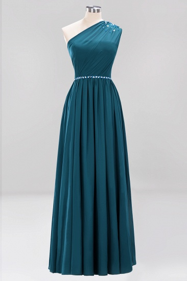 Modest One-shoulder Royal Blue Affordable Bridesmaid Dress with Beadings_27