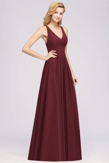 Affordable Chiffon V-Neck Sleeveless Lace Bridesmaid Dress Online_59