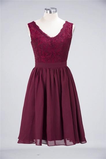 Elegant Lace V-Neck Short Burgundy Chiffon Bridesmaid Dress with Ruffle_9