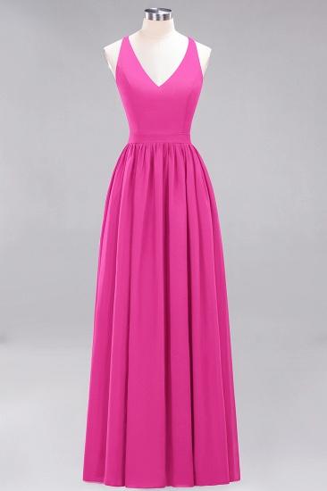 Affordable Chiffon V-Neck Sleeveless Lace Bridesmaid Dress Online_9