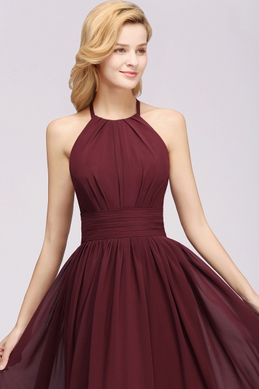Elegant High-Neck Halter Long Affordable Bridesmaid Dresses with Ruffles_61