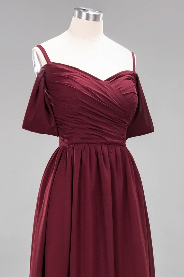 Chic Off-the-shoulder Burgundy Bridesmaid Dress with Spaghetti Straps_62