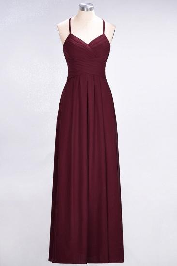 Affordable Spaghetti Straps V-Neck Burgundy Chiffon Bridesmaid Dress with Keyhole Back_59