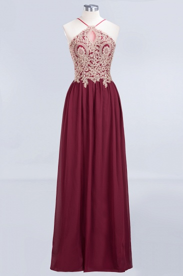 BMbridal Chic Spaghetti Straps Long Burgundy Backless Bridesmaid Dress with Appliques_1