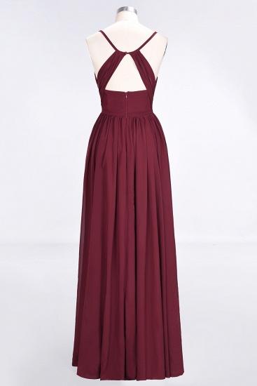 BMbridal Elegant Chiffon V-Neck Burgundy Bridesmaid Dresses With Spaghetti-Straps_5