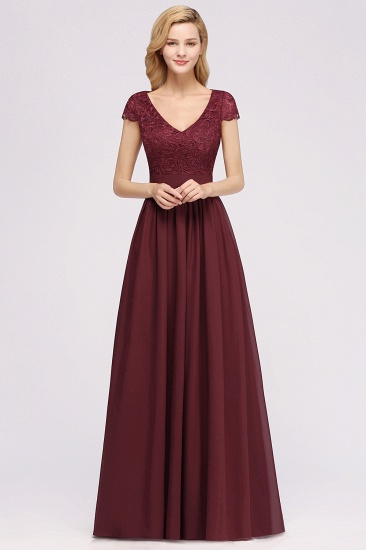 Elegant Lace Open-Back Long Burgundy Bridesmaid Dresses Online_2