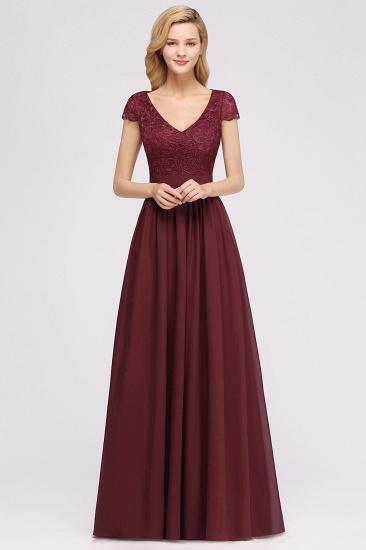 BMbridal Elegant Lace Open-Back Long Burgundy Bridesmaid Dresses Online_1