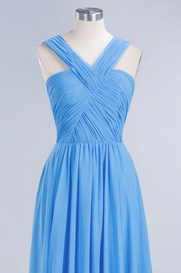 Chic Crisscross Ocean Blue Junior Bridesmaid Dresses Affordable Chiffon Ruffle Maid of Honor Dresses_11