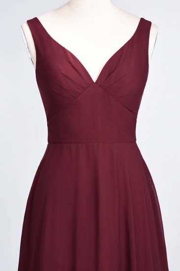 Chic Chiffon V-Neck Straps Ruffle Affordable Bridesmaid Dresses with Open Back_58