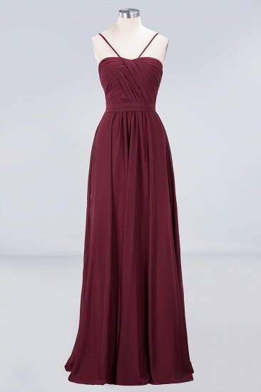Chic Burgundy Sweetheart Long Bridesmaid Dress With Spaghetti-Straps_4