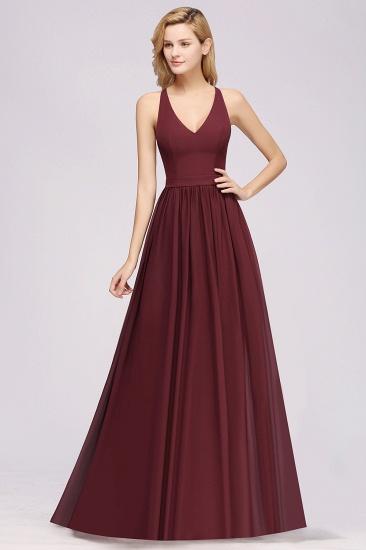 Affordable Chiffon V-Neck Sleeveless Lace Bridesmaid Dress Online_60