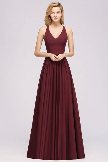 Affordable Chiffon V-Neck Sleeveless Lace Bridesmaid Dress Online_54