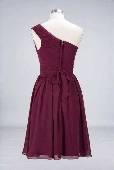 Chiffon One Shoulder Ruffle Short Burgundy Bridesmaid Dresses Online_12