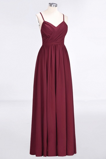 BMbridal Elegant Chiffon V-Neck Burgundy Bridesmaid Dresses With Spaghetti-Straps_6
