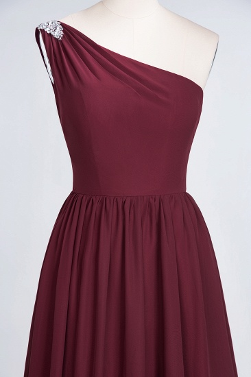 Affordable Chiffon One-Shoulder Ruffle Bridesmaid Dress with Beadings_56