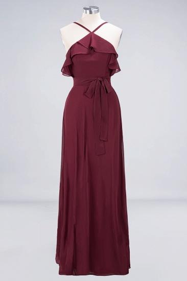 Affordable Spaghetti Straps Burgundy Long Bridesmaid Dress With Bow Sash_9