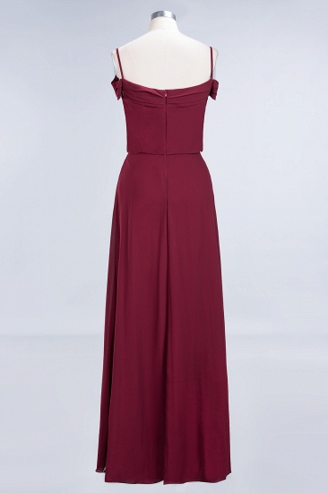 Elegant Off-the-Shoulder Burgundy Bridesmaid Dress Online Spaghetti-Straps Cheap Maid of Honor Dress_9