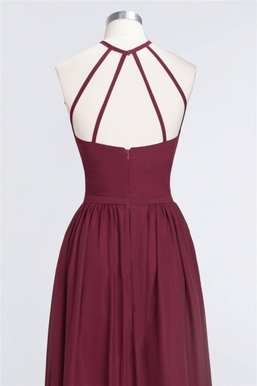 Affordable Halter Sleeveless Long Burgundy Bridesmaid Dress with Ruffle_58