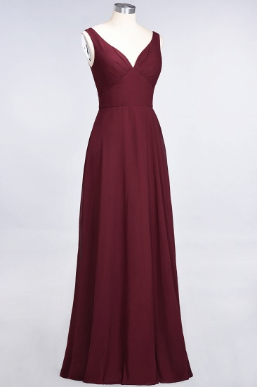 Chic Chiffon V-Neck Straps Ruffle Affordable Bridesmaid Dresses with Open Back_57