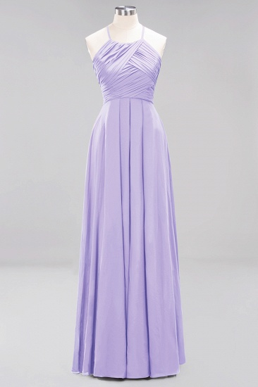 BMbridal Halter Crisscross Pleated Bridesmaid Dress Blue Chiffon Sleeveless Maid of Honor Dress_21