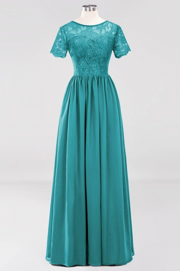 Elegant Dark Navy Long Lace Bridesmaid Dresses with Short-Sleeves_32