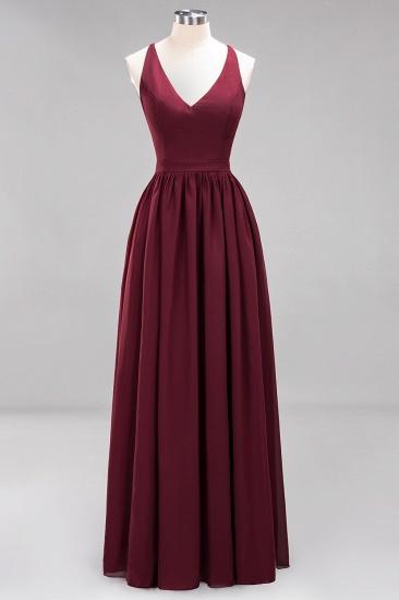 Affordable Chiffon V-Neck Sleeveless Lace Bridesmaid Dress Online_55