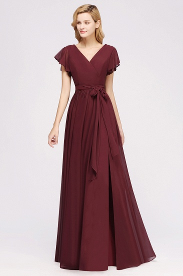BMbridal Burgundy V-Neck Long Bridesmaid Dress With Short-Sleeves_53