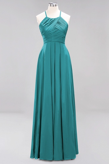 BMbridal Halter Crisscross Pleated Bridesmaid Dress Blue Chiffon Sleeveless Maid of Honor Dress_32