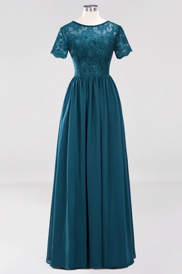 Elegant Dark Navy Long Lace Bridesmaid Dresses with Short-Sleeves_27