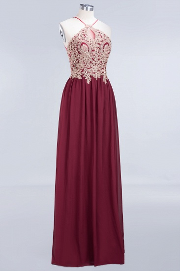 Chic Spaghetti Straps Long Burgundy Backless Bridesmaid Dress with Appliques_6