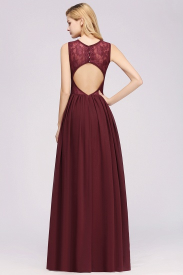 BMbridal Affordable Sleeveless Lace Pink Bridesmaid Dress With Hollowout Back_5