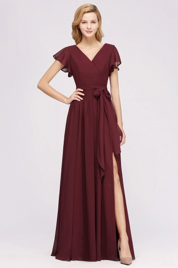 Burgundy V-Neck Long Bridesmaid Dress With Short-Sleeves_51