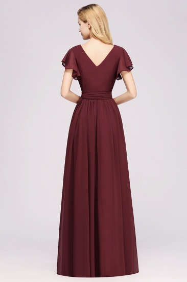 Burgundy V-Neck Long Bridesmaid Dress With Short-Sleeves_52