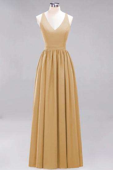 Affordable Chiffon V-Neck Sleeveless Lace Bridesmaid Dress Online_13