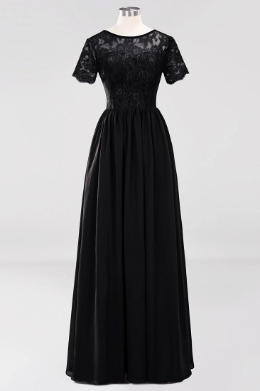 Elegant Dark Navy Long Lace Bridesmaid Dresses with Short-Sleeves_29