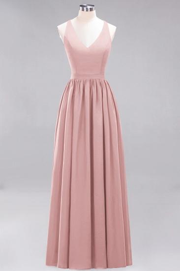 Affordable Chiffon V-Neck Sleeveless Lace Bridesmaid Dress Online_6
