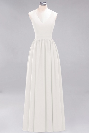 Affordable Chiffon V-Neck Sleeveless Lace Bridesmaid Dress Online_2