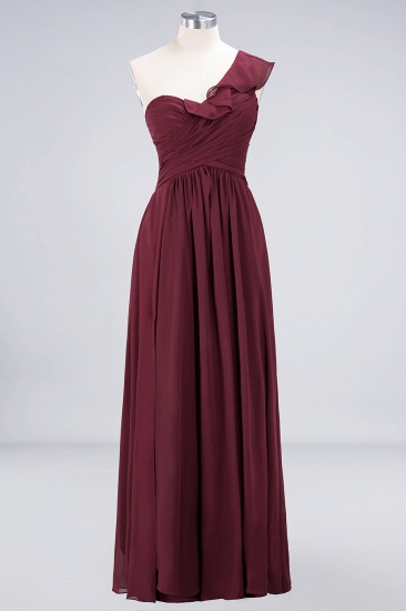 BMbridal Gorgeous Sweetheart Ruffle Burgundy Chiffon Bridesmaid Dress With One-shoulder_10