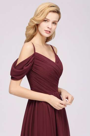 Chic Off-the-shoulder Burgundy Bridesmaid Dress with Spaghetti Straps_56
