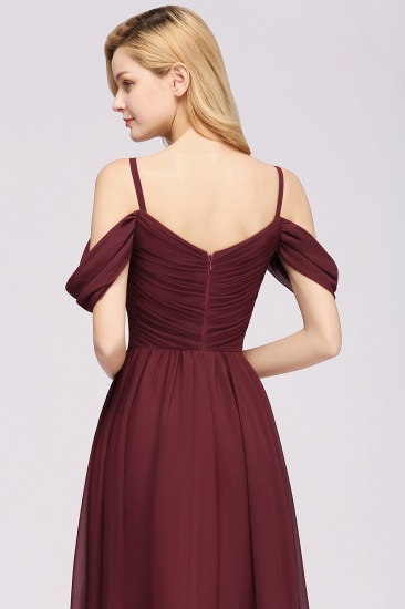 Chic Off-the-shoulder Burgundy Bridesmaid Dress with Spaghetti Straps_57
